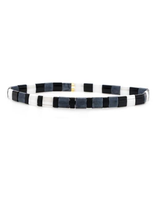 TL B190252B Stainless steel Tila Bead White Geometric Bohemia Handmade Weave Bracelet