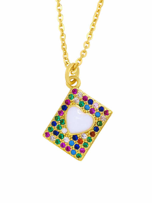 CC Brass Cubic Zirconia Heart Hip Hop Necklace 2