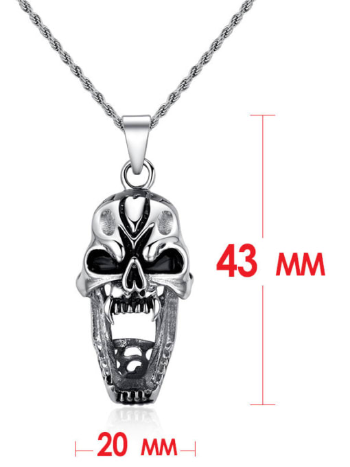 CONG Stainless steel Skull Hip Hop Necklace 2