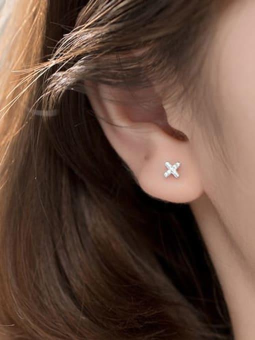 Rosh 925 Sterling Silver Rhinestone Cross Minimalist Stud Earring 2