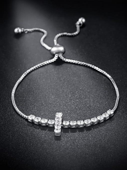 platinum Brass Cubic Zirconia Cross Vintage Adjustable Bracelet