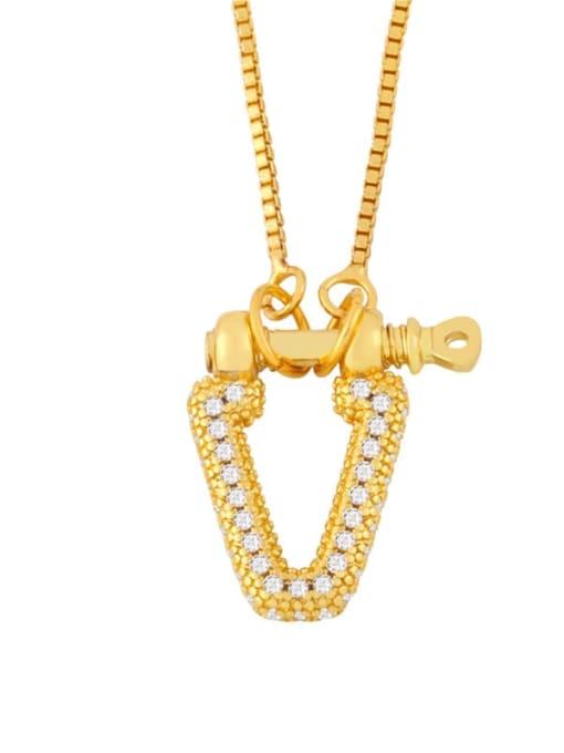 B Brass Cubic Zirconia Geometric Vintage Necklace