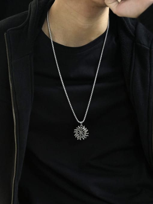 Open Sky Alloy  Hip Hop Retro Men's Sun Pendant  Necklace 1