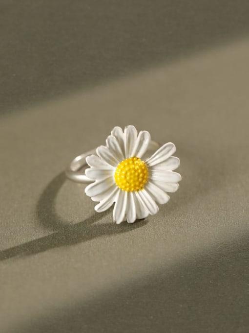 DAKA 925 Sterling Silver Enamel Flower Minimalist Band Ring