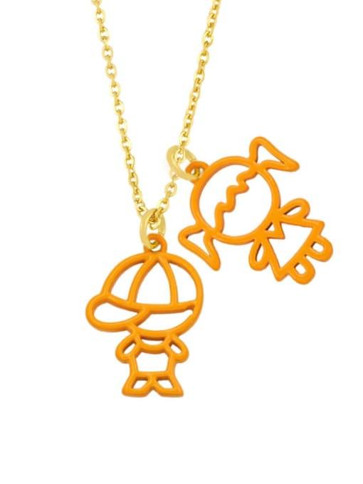 orange Brass Enamel Cute Angel  Pendant Necklace