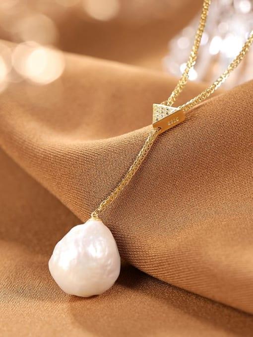 DEER 925 Sterling Silver Freshwater Pearl Irregular Vintage Lariat Necklace 0