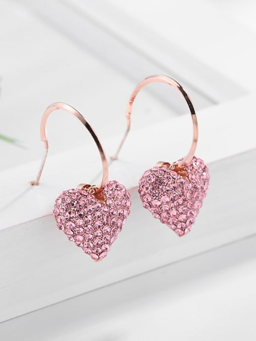 rose gold Brass Rhinestone Heart Dainty Hook Earring