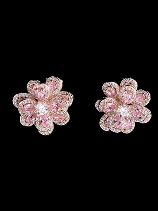Luxu Brass Cubic Zirconia Flower Trend Stud Earring 3