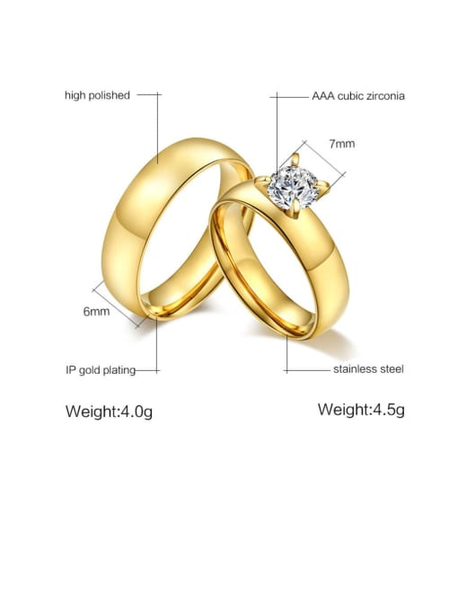 CONG Stainless steel Rhinestone Geometric Minimalist Band Ring 2
