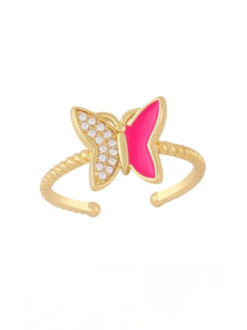 Rose red Brass Enamel Rhinestone Butterfly Minimalist Band Ring