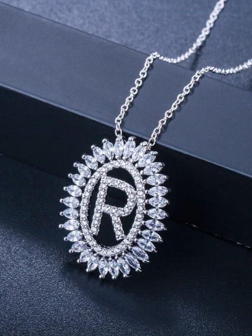 Letter R Brass Cubic Zirconia Geometric Luxury Letter pendant Necklace