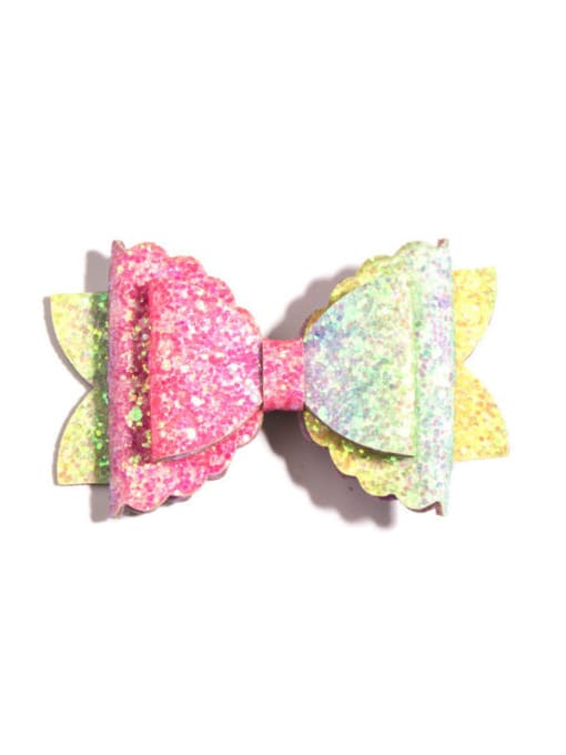 3 colorful hairpin Alloy Fabric Cute Bowknot Multi Color Hair Barrette