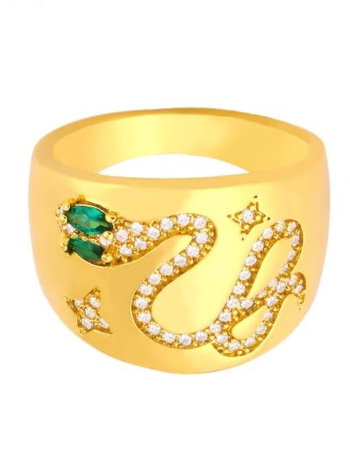 CC Copper Rhinestone Snake Vintage Ring 3