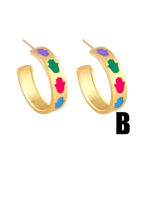 B Brass Enamel Rainbow Hip Hop Stud Earring