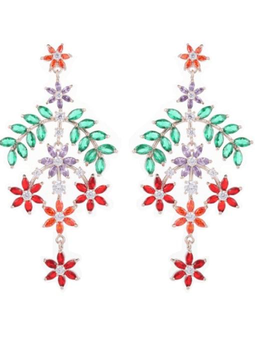 Color zirconium Brass Cubic Zirconia Flower Trend Drop Earring
