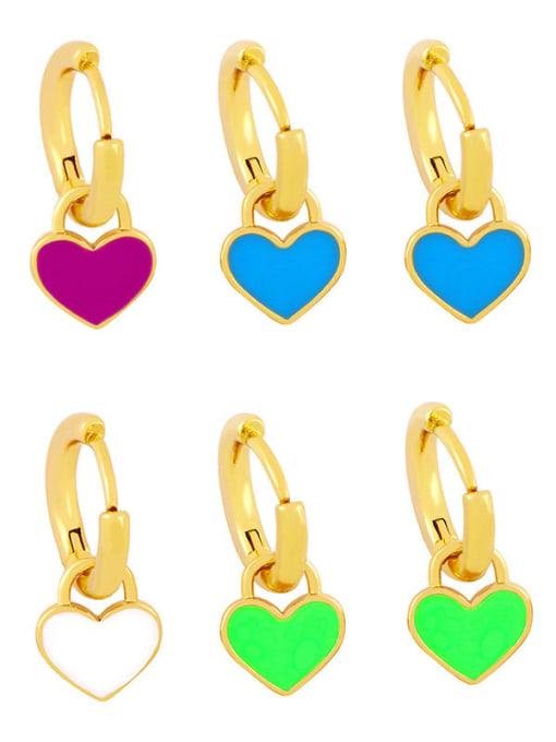 CC Brass Enamel Heart Minimalist Huggie Earring