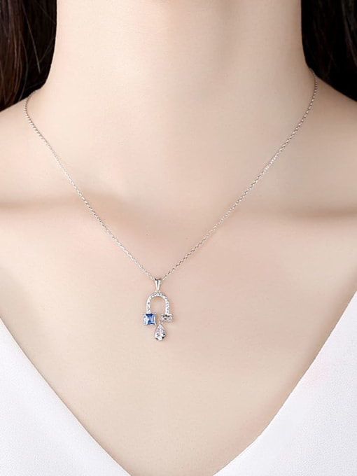 CCUI 925 Sterling Silver Cubic Zirconia Flower Dainty Necklace 1