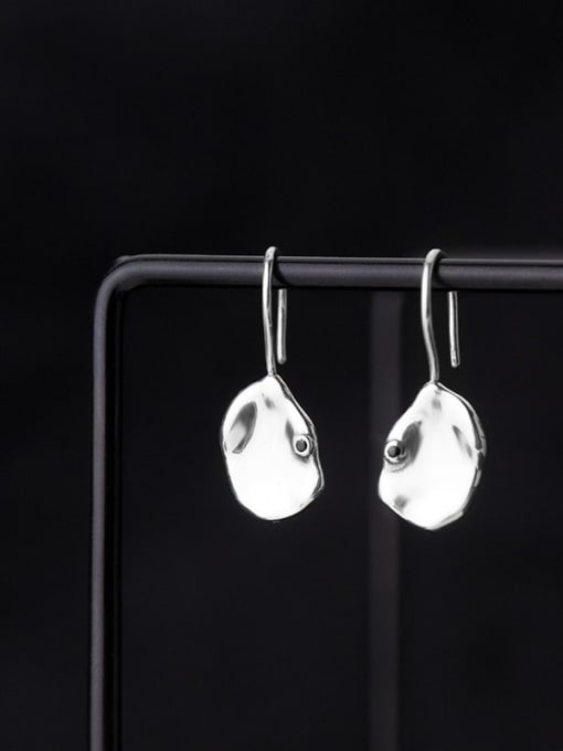 Rosh 925 Sterling Silver Smooth Geometric Minimalist Hook Earring 1