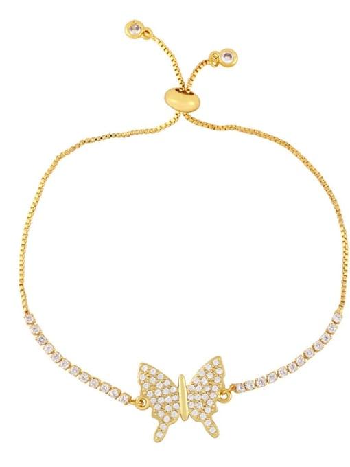 C Brass Cubic Zirconia Butterfly Vintage Adjustable Bracelet