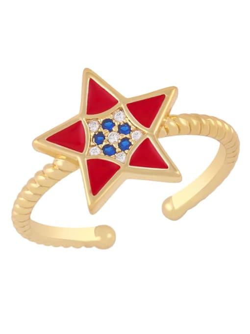 red Brass Enamel Star Minimalist Band Ring
