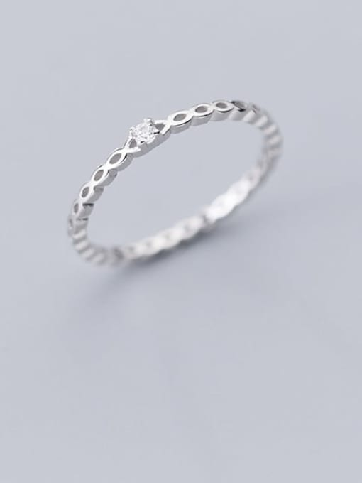 Rosh 925 Sterling Silver Hollow Water Drop Minimalist Free Size Ring 1