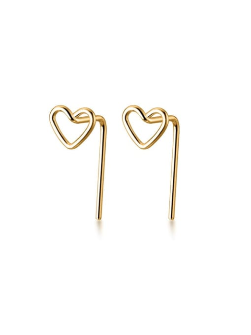 Rosh 925 Sterling Silver Hollow Heart Minimalist Earring