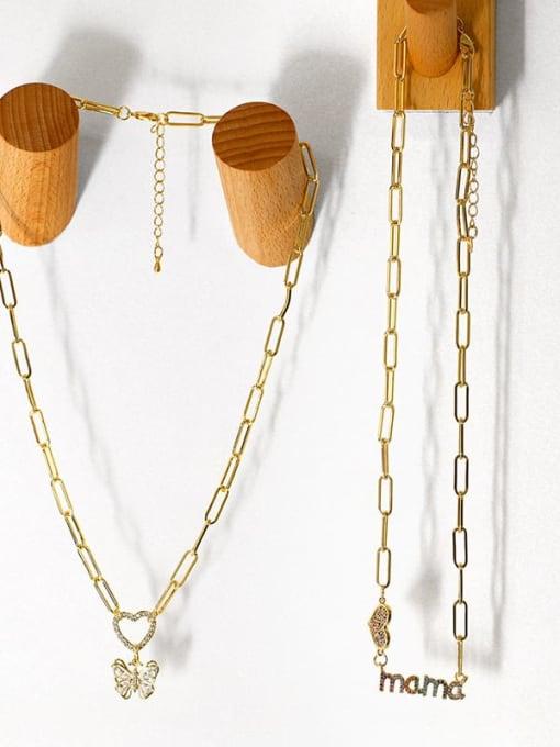 CC Brass Cubic Zirconia Letter Hip Hop Heart Pendant Necklace 4