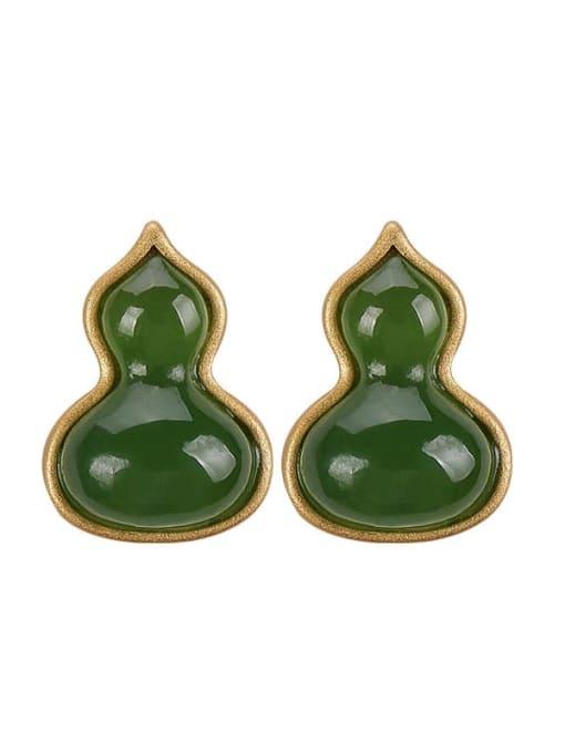 DEER 925 Sterling Silver Jade Irregular gourd Vintage Stud Earring 0