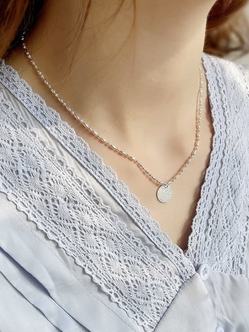 Boomer Cat 925 Sterling Silver Round Minimalist Bead Chain Necklace 3