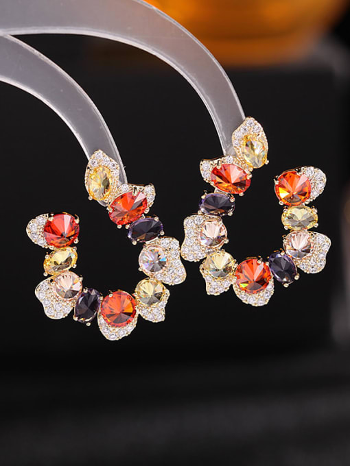 yellow Zirconium Brass Cubic Zirconia Flower Luxury Stud Earring
