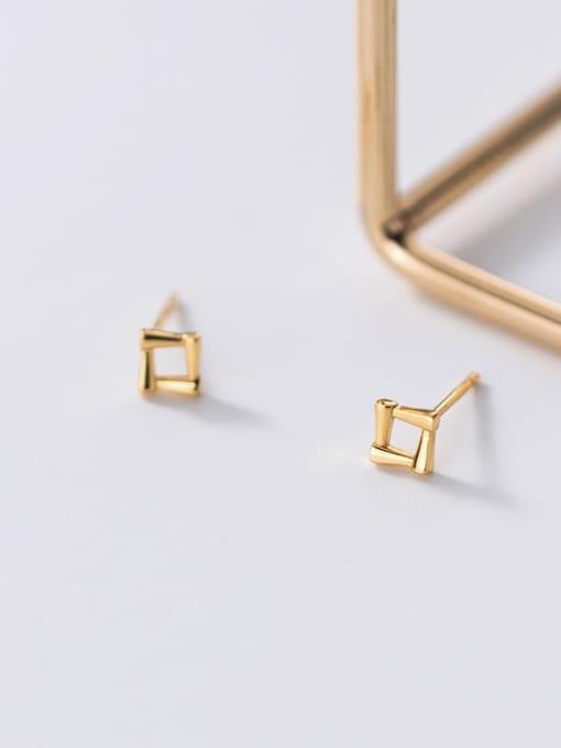 Rosh 925 Sterling Silver Hollow Geometric Minimalist Stud Earring 2