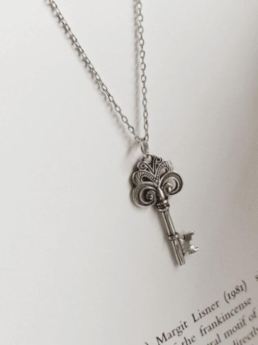 Boomer Cat 925 Sterling Silver Irregular Vintage Key Pendant Necklace 2