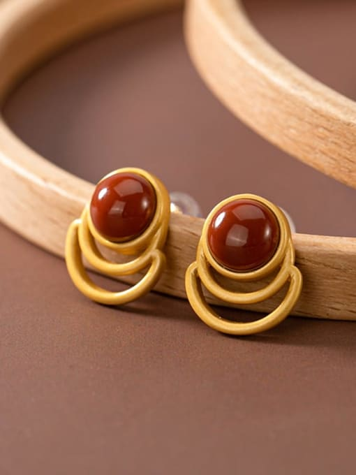 South Red (a pair) 925 Sterling Silver Jade Geometric Vintage Stud Earring