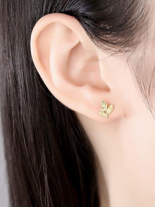 CCUI 925 Sterling Silver Leaf Minimalist Stud Earring 2