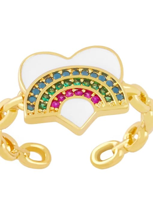 white Brass Enamel Rainbow Vintage Band Ring