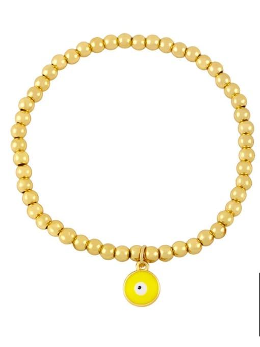 F (yellow eyes) Brass Bead Enamel Flower Hip Hop Beaded Bracelet