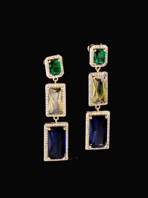 Color zirconium Brass Cubic Zirconia Geometric Statement Drop Earring