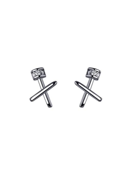 silver 925 Sterling Silver Cross Minimalist Stud Earring