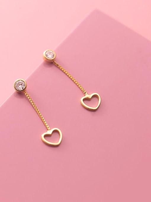 Rosh 925 Sterling Silver Heart Minimalist Drop Earring 2