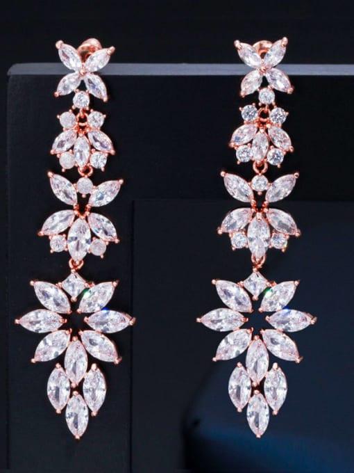 L.WIN Brass Cubic Zirconia Flower Statement Chandelier Earring 1
