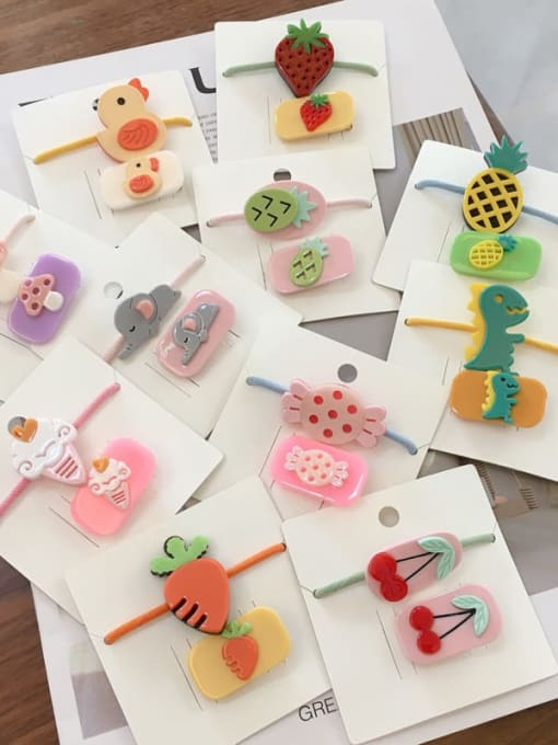 Chimera Alloy Acrylic Cute Children cartoon animal fruit Hairpin Rubber band Set