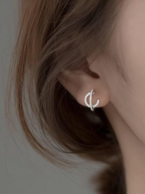 Rosh 925 Sterling Silver Cubic Zirconia Geometric Vintage Stud Earring 1