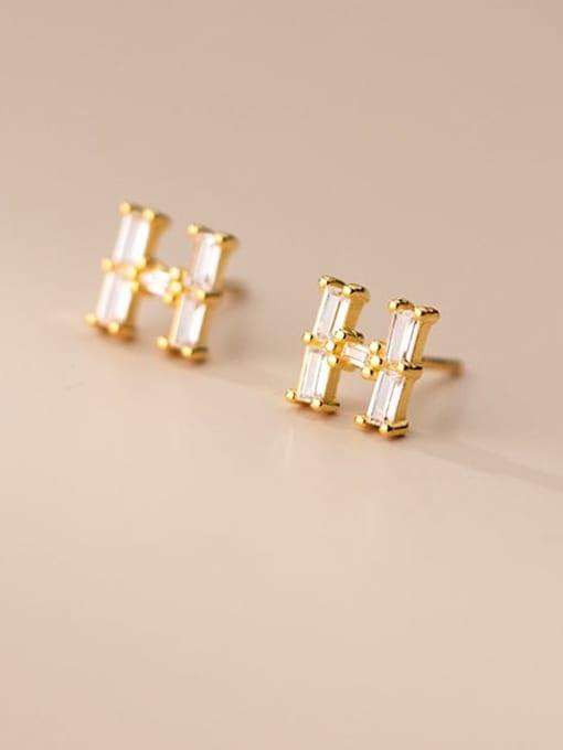 Rosh 925 Sterling Silver Cubic Zirconia Letter Minimalist Stud Earring
