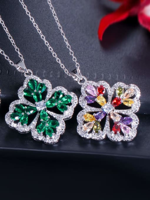 L.WIN Brass Cubic Zirconia Luxury Flower  Earring Ring and Necklace Set 4