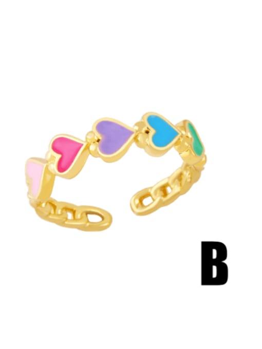 B Brass Enamel Heart Minimalist Band Ring