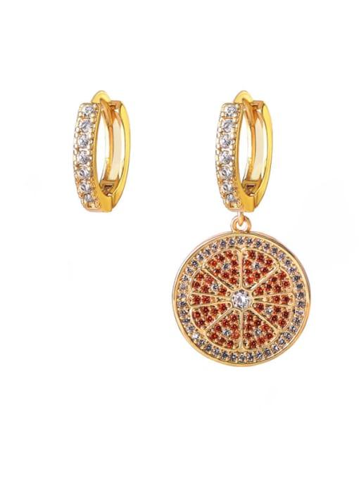DUDU Brass Cubic Zirconia Geometric Vintage Huggie Earring