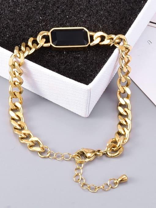 A TEEM Titanium Steel Glass Stone Geometric Vintage Bracelet 4