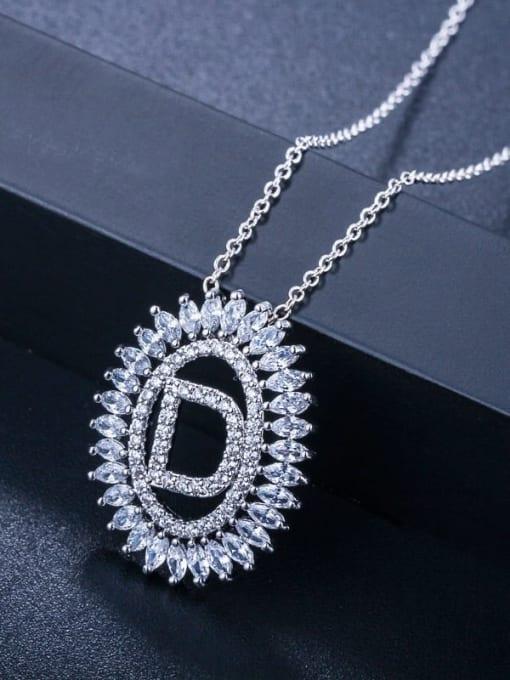 Letter D Brass Cubic Zirconia Geometric Luxury Letter pendant Necklace