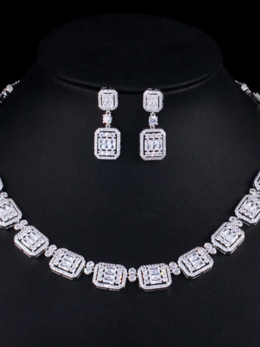 L.WIN Brass Cubic Zirconia Luxury Geometric Earring and Necklace Set 0