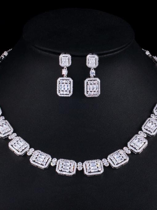 Platinum Brass Cubic Zirconia Luxury Geometric Earring and Necklace Set